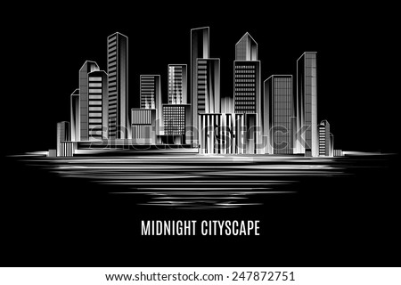 Urban midnight cityscape. Night city, buildings and skyscrapers. Vector illustration - stock vector