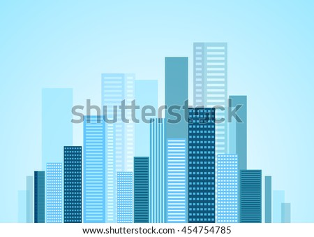 Urban modern city blue panorama. Vector skyline cityscape design