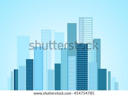 Urban modern city blue panorama. Vector skyline cityscape design - stock vector