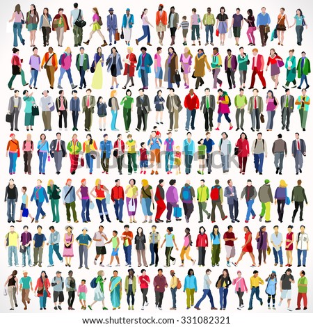 Urban Multiethnic People Collage Large Set Colorful Flat Icon Set Isolated Walking Female and Male People Characters. Asiatic British African Indian Young Adult Boys and Girls Collage Vector Image. - stock vector