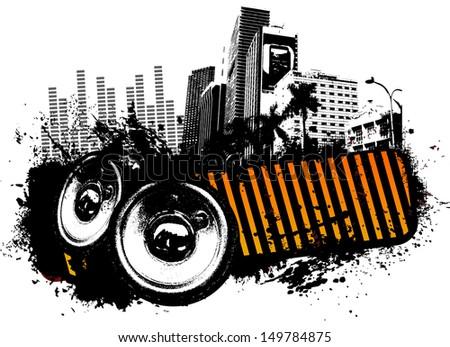 Urban music - stock vector