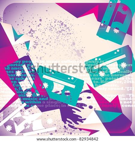 Urban musical background. Vector illustration. - stock vector
