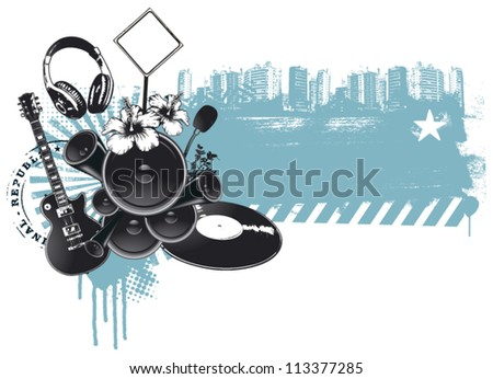 urban party with music things and grunge background - stock vector