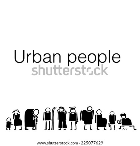 Urban people silhouette stylization with different types of people. Border vector illustration. Useful for cards and other types of design - stock vector
