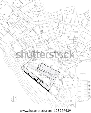 Urban plan drawing - stock vector