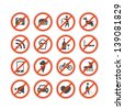 Urban prohibition signs collection isolated on white - stock vector