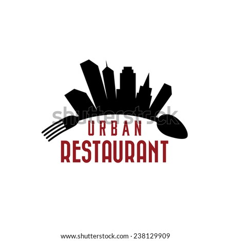 urban restaurant vector design template - stock vector