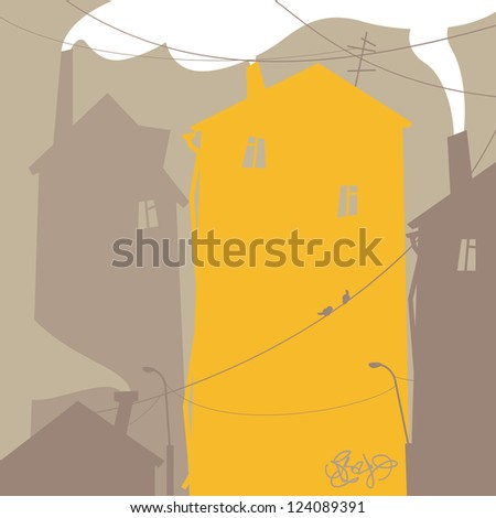 Urban scene with old houses - stock vector