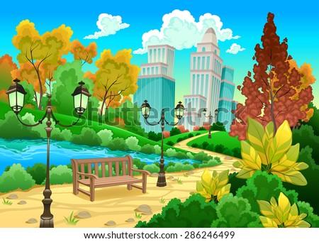 Urban scenery in a natural garden. Cartoon vector illustration - stock vector