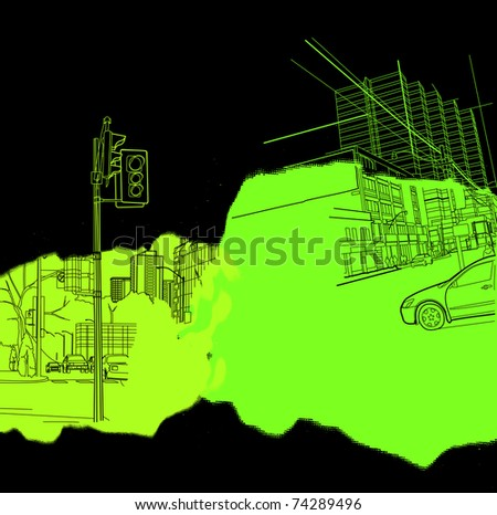 urban scenics collage - stock vector