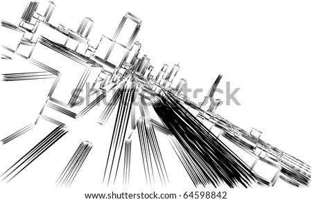 Urban sketch - stock vector