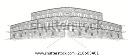 urban sketch of Palazzo Pitti in Florence, Italy  - stock vector