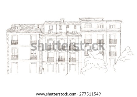 Urban sketch of spanish architecture in Madrid, Spain