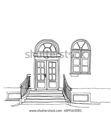 Vector Line Art Illustration Of House Facade Vintage Architecture Door