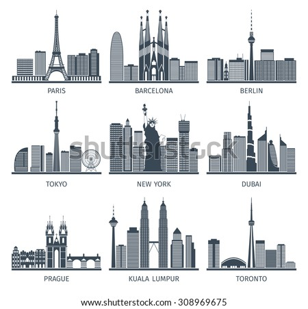 Urban skylines black white icons set with Paris Berlin and New York flat isolated vector illustration  - stock vector