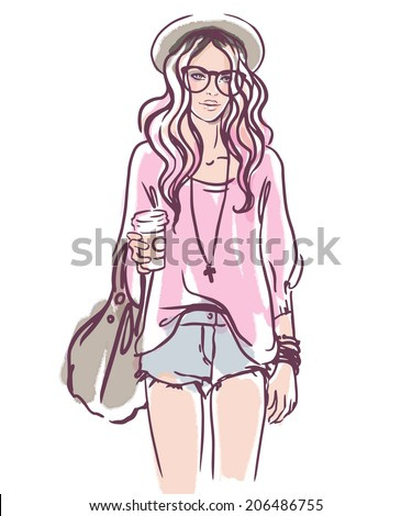 Urban street style: Pretty hipster girl with pink hair holding coffee cup portrait isolated on white background, sketchy style fashion vector illustration  - stock vector