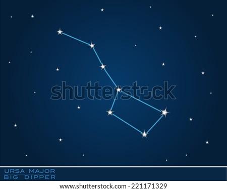ursa major, big dipper constellation - stock vector