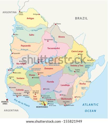 uruguay administrative map - stock vector
