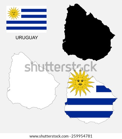 Uruguay map and flag vector, Uruguay map, Uruguay flag - stock vector