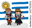 Uruguayan man and woman cartoon couple with national flag background. Vector illustration layered for easy editing. - stock