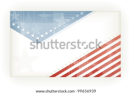 US American flag themed background, business, or gift card using pale blues and reds. Space for your text, eps10. - stock vector