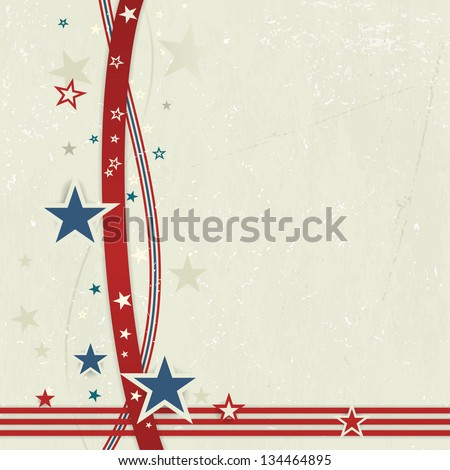US American flag themed background, or card with wavy lines and stars in red and blue forming a patriotic border on a distressed, worn background.  Great for the 4th of July. - stock vector