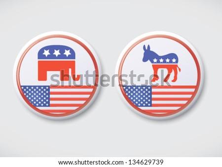 US, American Politics - Republican & Democratic party button badge. - stock vector