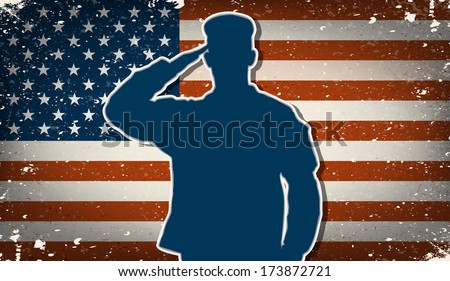 US Army soldier saluting on grunge american flag background vector (for Independence Day and Veteran's Day designs) - stock vector