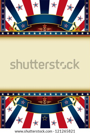 US background.  A poster with tricolor sunbeams and a large frame for your message - stock vector