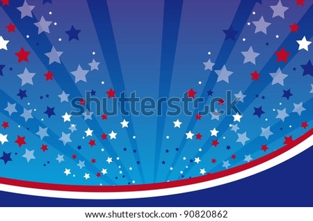 US background with lines and stars vector illustration - stock vector