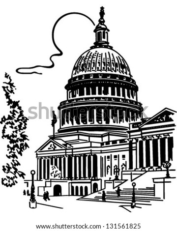US Capitol Building - Retro Clip Art Illustration - stock vector