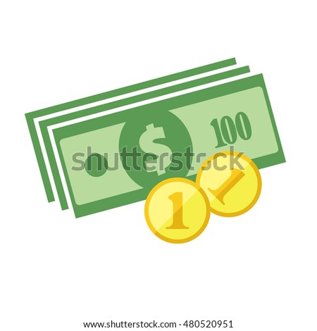 US dollar banknotes stack and heap of golden coins. Flat vector icon. American currency symbol. USA bucks pictogram. Greenback and stylized eps8 illustration.