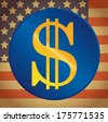 US dollar on a US flag background vector icon  - stock vector
