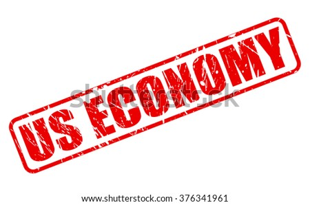 US ECONOMY red stamp text on white - stock vector