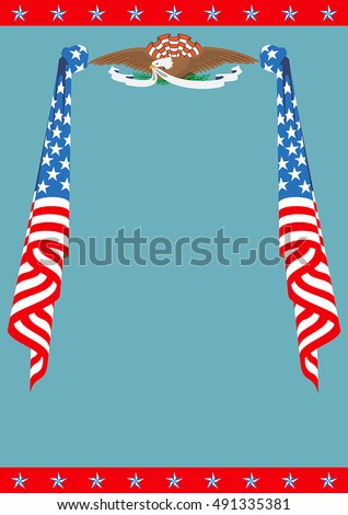 US Flag and Eagle patriotic border template. Can be used as a poster or an invitation card. Just place your own texts and titles.