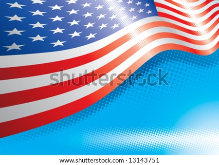 US Flag and halftone effects, Vector illustration with layers file. - stock vector