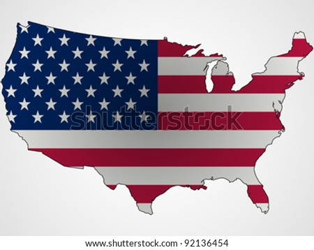 us flag and map abstract, unique vector art illustration