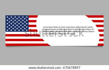us flag banner header template american stock vector 670678897