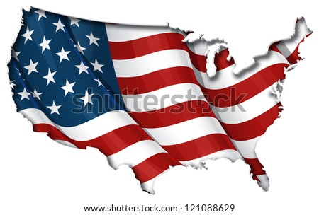 US Flag-Map Inner Shadow - stock vector
