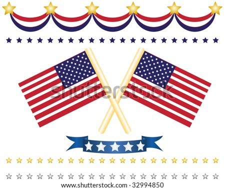 us flags and independence decoration including badge, strips, stars and flag - stock vector