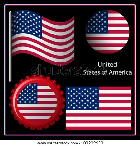 us graphic set against black background; image contains transparency - stock vector