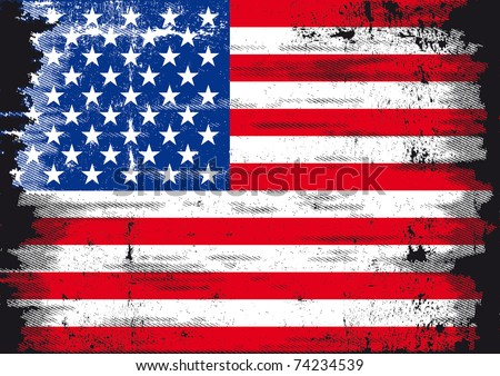 Us Grunge flag A used patriotic US Flag - stock vector