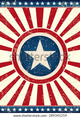 US grunge star. An american background with a big star and sunbeams for you - stock vector