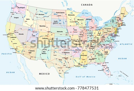 Us Interstate Highway Administrative Political Vector Stock Vector