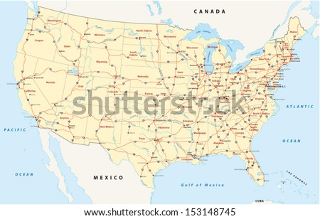 us interstate highway map - stock vector