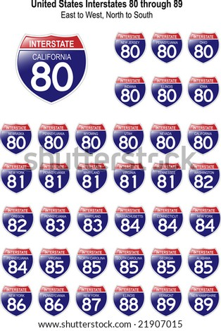 US Interstate Signs I-80 through I-89 with reflective-looking surface. - stock vector