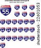 US Interstate Signs I-55 through I-69 with their respective states, with reflective-looking surface. - stock vector