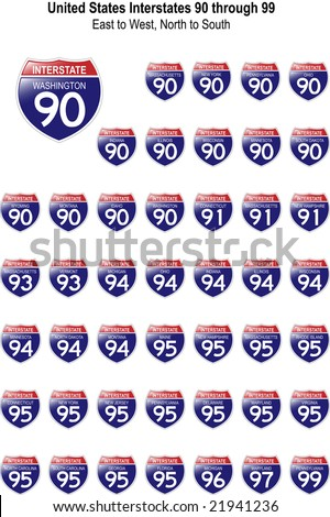 US Interstate Signs I-90 through I-99 with their respective states, with reflective-looking surface. - stock vector