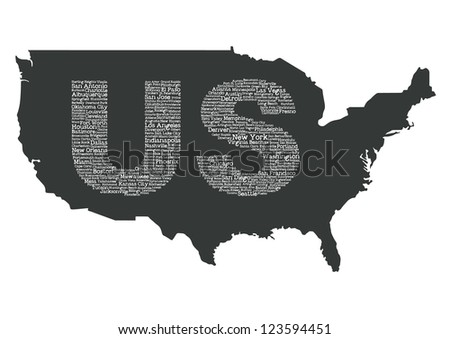 US map - stock vector