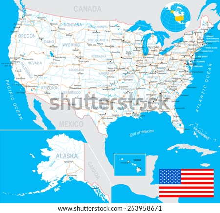 Highly Detailed Map United States Cities Stock Vector - Alaska us map